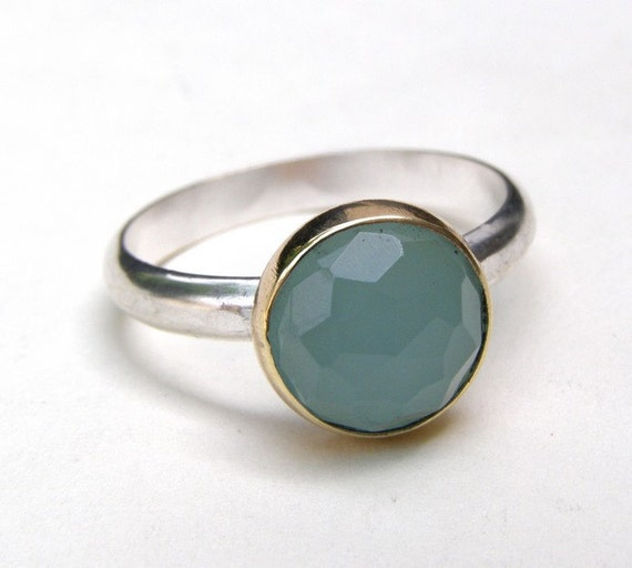 Aquamarine Ring - Recycled 14k yellow Gold and Aquamarine and silver sterling ring  Made to order