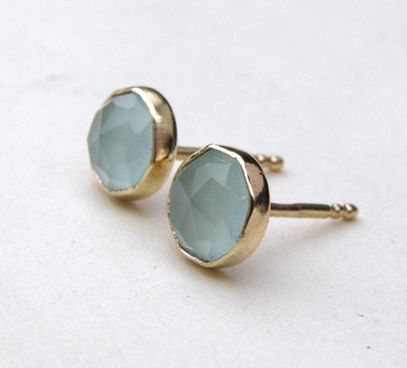 Aquamarine chalcedony Gold studs earrings  Recycled 14k yellow gold earrings stud post