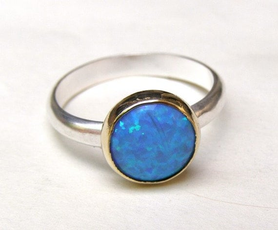 Recycled Silver and 14k Yellow Gold with Blue Opal ring
