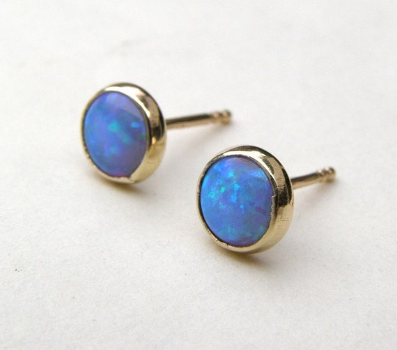 Opal Earrings opal gold Stud earrings 14k yellow Gold post Earrings