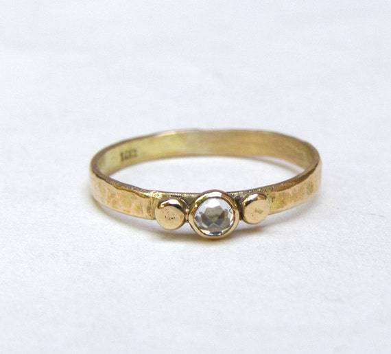 engagement ring - 14k gold ring White Topaz stone Made to order