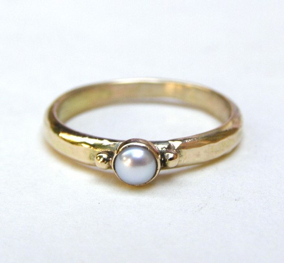 14k Gold Ring engagement ring  white pearl stone  Made to order
