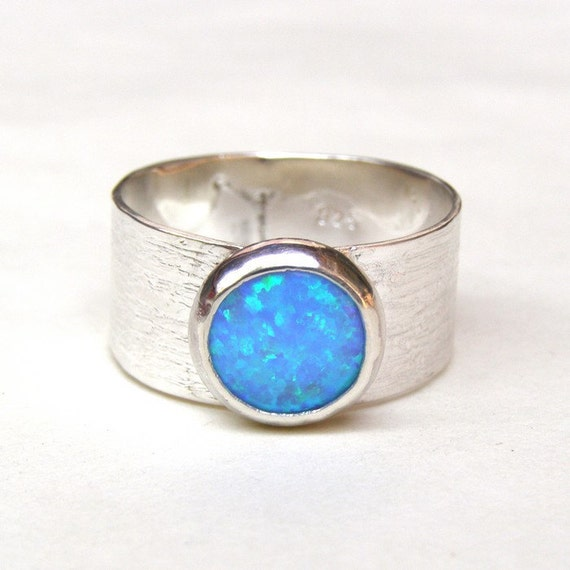 ON SALE 925 silver sterling with blue Opal ring size 8.5