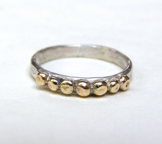 14k Gold ring and silver ring with Lovely 14k gold dots - made to order