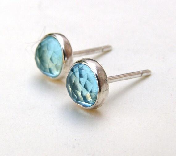 Silver Earrings Blue Quartz studs 8mm