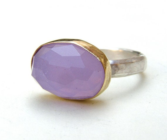 Purple Chalcedony Gold  Ring- Gold and Silver Purple Violet Chalcedony stone ring