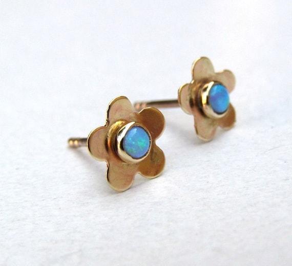 Opal Earrings Gold studs earring -Flower Gold 14k gold post earrings