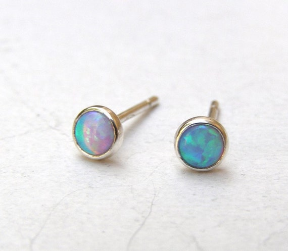 Tiny silver stud Opal  Earrings Opal studs silver Earrings 4mm