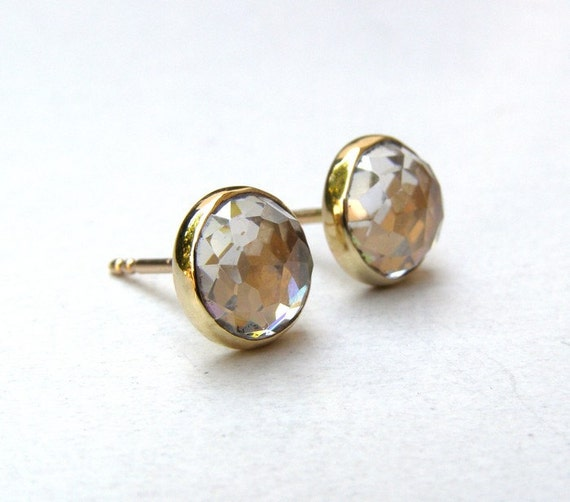 Similar diamond Earrings - White topaz earrings 14k Gold Studs Gold earring gold post earrings  8mm