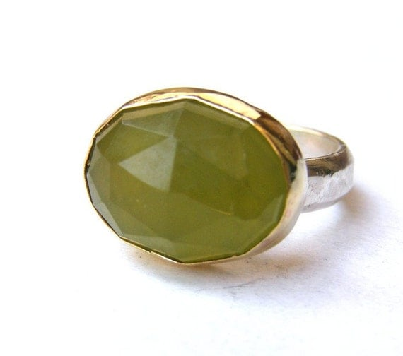 Green Garnet ring gold  ring - Silver ring and 14k Gold  MADE TO ORDER