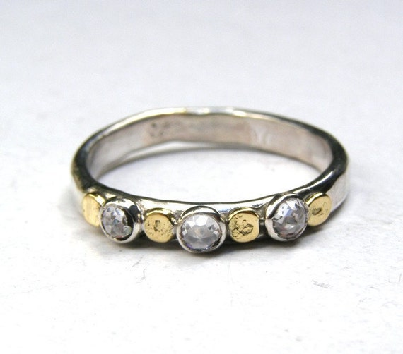 silver ring and gold   - Recycled silver sterling  ring made to order Similar diamond stone