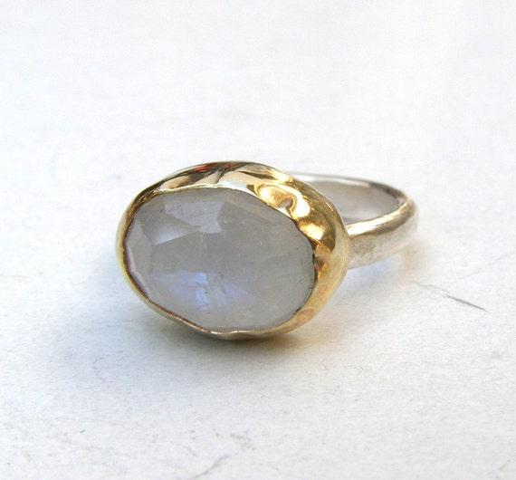 Rainbow Moonstone ring Recycled silver sterling and 14k yellow gold ring Silver ring Made to order