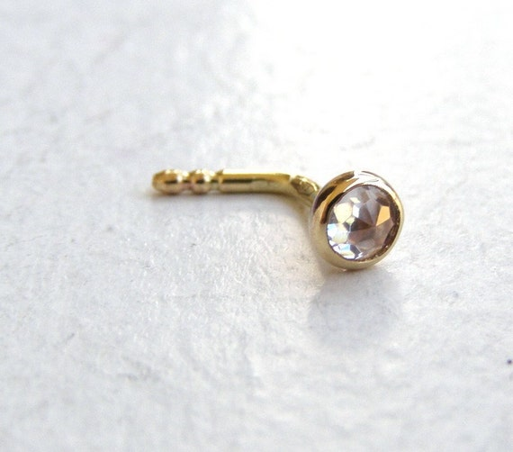 Nose stud - Nose ring 14k solid gold nose ring white topaz nose ring