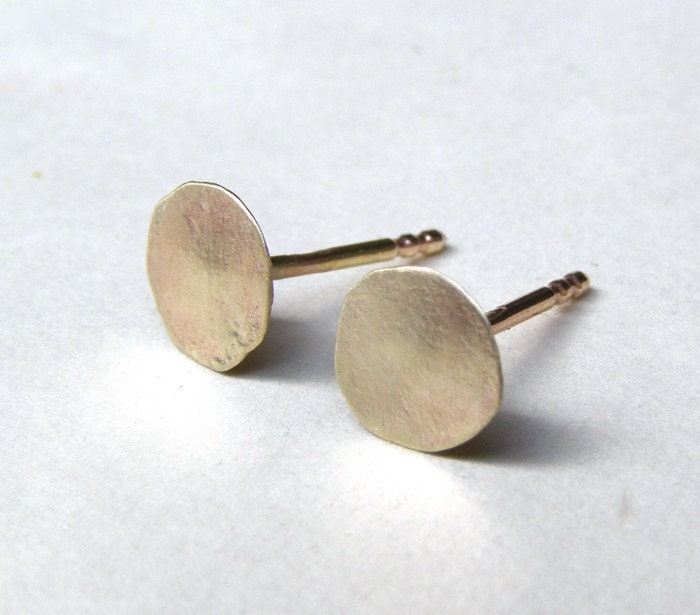 flat gold earrings gold Studs in Recycled 14k yellow Gold post
