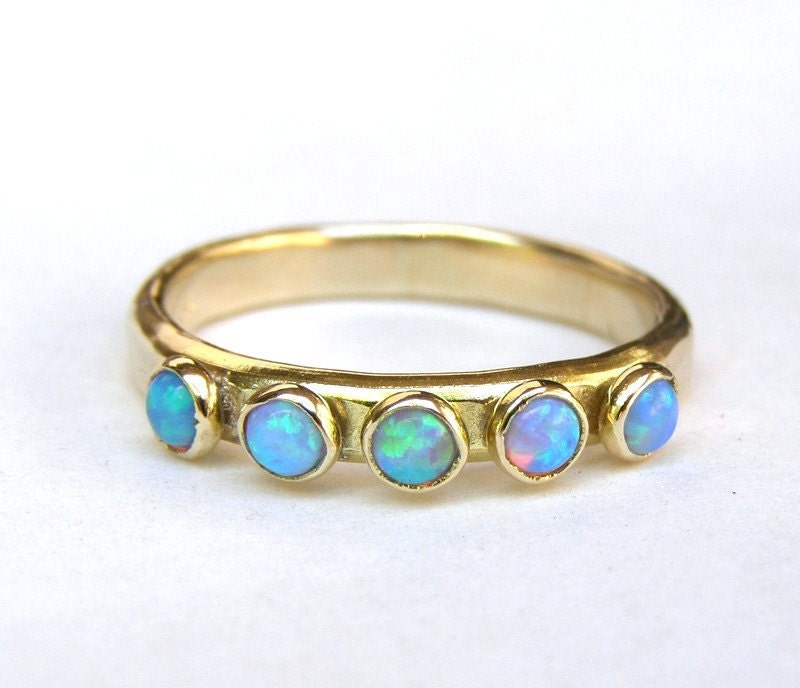 Blue Opal ring Fine gold ring Stacking ring wedding bands