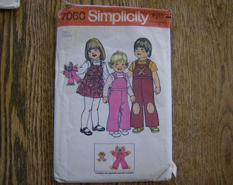 vintage Toddlers Overalls Jumper and Doll 1975 pattern