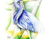 Tricolored Heron - Signed, Limited Edition 4/100 Archival Giclee Print 11 x 14 in.