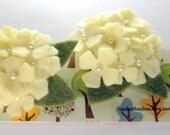 "Felt Flower Hair Clip Set - Felt Flowers ""Pearly Hydrangea"" with hand sewn pearl centers"