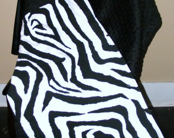 Beautiful Warm Durable Premier Black and White Zebra Throw Blanket high quality batting and fabric 40X60 Black minky dot