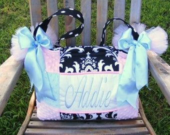 Light Blue and Light Pink Diaper Bag Black and White Damask Pock a Dot Poofy Tutu