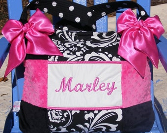 Baby Girl Diaper Bag Black White Damask premier Polka Dot Black and Hot Pink Minky Dot Custom Made high quality patchwork 3 pockets Nice