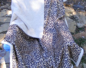 Cheetah Leopard Thick Soft Tan 57 X 76 Throw Blanket Warm Gorgeous Baby Girl or Boy