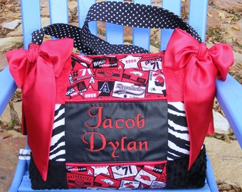 Arkansas Razorback Personalized Patch Work Diaper Bag Zebra Black Red Minky Dots and Polka Dots Satin Bows
