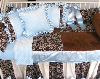 Baby Boy Bedding Light Blue n Chocolate Brown Minky Dot w/Chocolate Brown Primer Fabric pillow high quality Quilt Patchwork Beautiful
