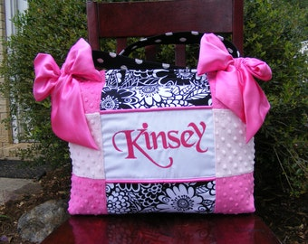 Hot Pink n Light Pink Minky Dot Girl Diaper Bag Black and with Floral n polka dot