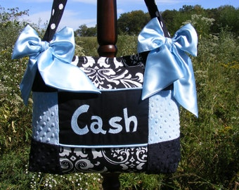 Baby Boy Diaper Bag Black and Light Blue Minky Dot Damask and Polka Dot Black and White