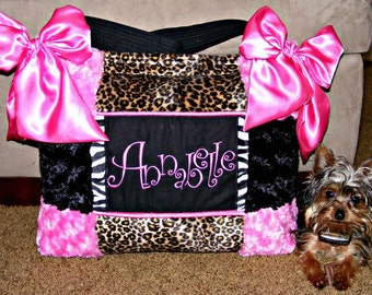 Leopard n Zebra Fur Diaper Bag Hot Pink n Black Rose Cuddle Girl Free Monogram Beautiful
