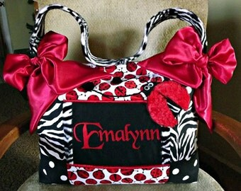 3D Red Fur Lady Bug Diaper Bag Black n White Zebra n Polka Dots premier fabric Simply Gorgeous