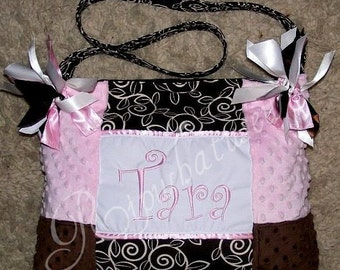 Light Pink Minky Dot Chocolate Brown Minky Dot Diaper Bag Ribbon Premier Nature Print