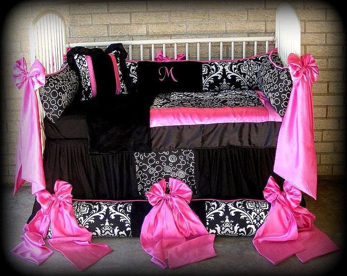 Featured listing image: Custom Made Baby n Toddler Bedding Black n White Damask n Polka Dots Hot Pink Satin Bows n Trim