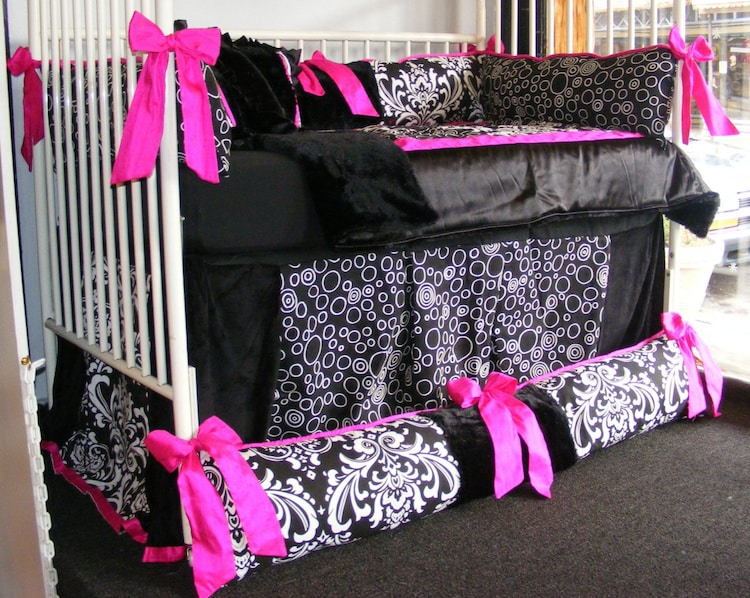 Black And White Damask Fuchsia Girl Baby Bedding By Diaperbags