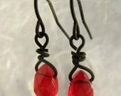FREE SHIPPING Red Blood Drop Tiny Earrings