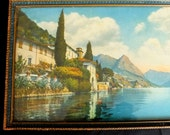 Two 1920s Vintage Pictures of Lake Como Northern Italy Villa and Village - 692