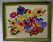 Vintage Flowers Embroidery Needlepoint Crewel Wall Hanging Picture
