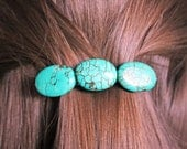 TURQUOISE HAIR CLIP stone blue barrette silver for her accessory western metal boho teal birthday wedding party favor gift
