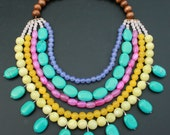 Turquoise Necklace Bib - Neon Strand Stone Wood Beads Multicolor Beach For her Pink Rainbow Egyptian Cleopatra Lime Green Yellow Purple Jade - Blitzrider