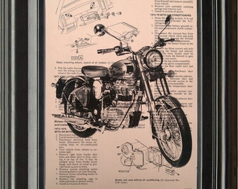 Dictionary Art Vintage Motorcycle Recycled book art print illustration motorcycle upsycle under 25 10 for him gifts boyfriend dad brother