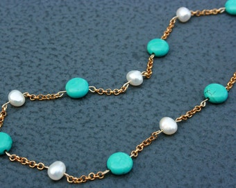 TURQUOISE pearl stone blue gold metal plated teal birthday for her beaded beadwork bridesmaids freshwater white wedding party favor