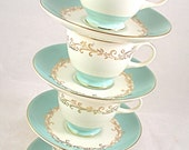 Homer Laughlin Lifetime China CROWN GOLD 4 Tea Cups & Saucers - Free USA Shipping