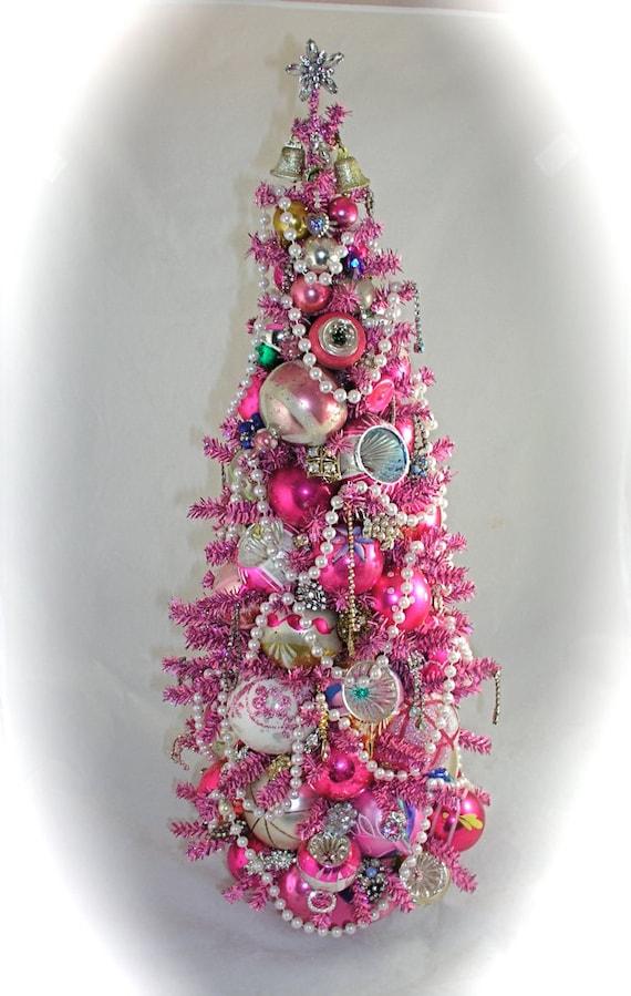 Ooak Shabby N Chic 24 Pink Christmas Mini Tabletop By