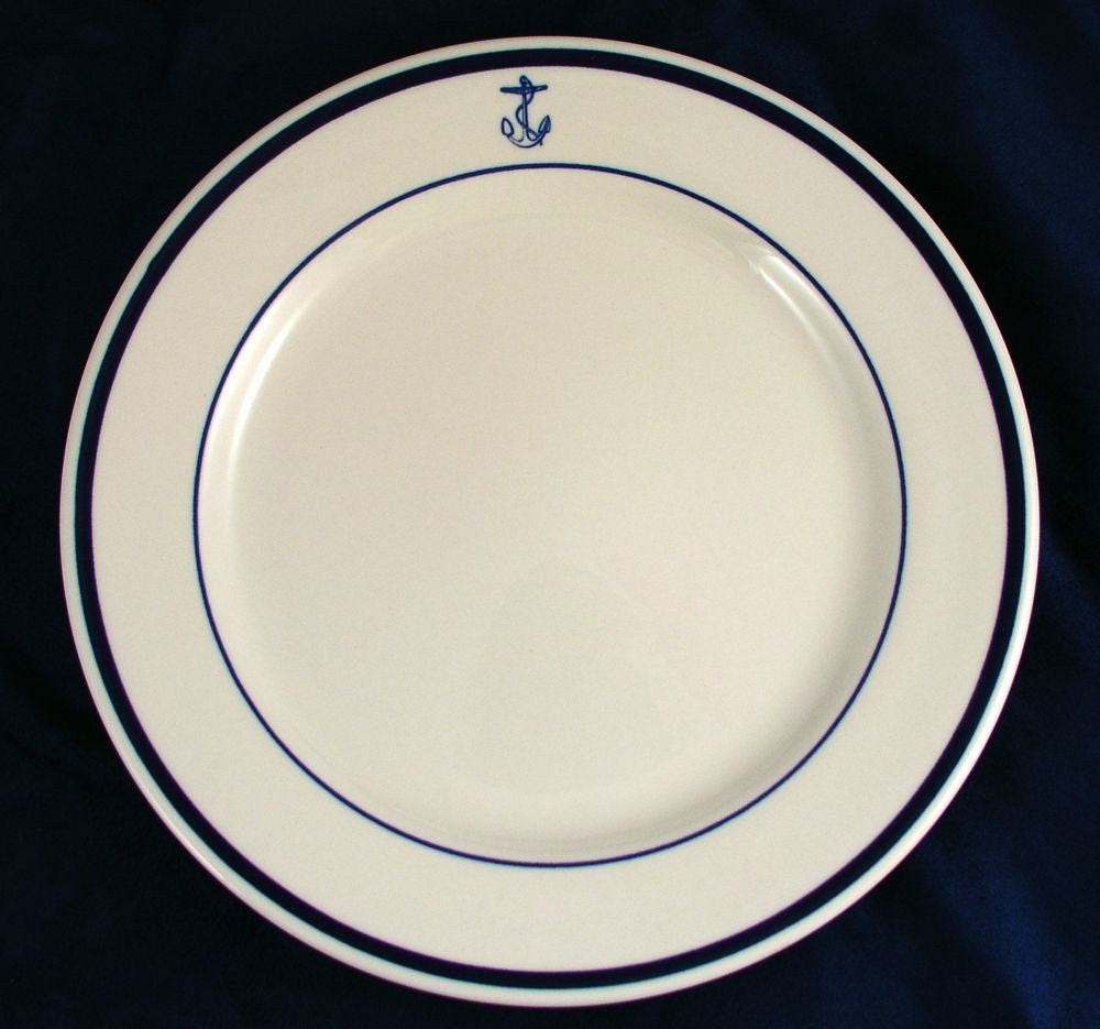 vintage usn us navy fouled anchor china dinner plate by