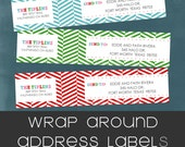 Christmas Herringbone Wrap Around Address Labels. Fun & Colorful Holiday Labels by Tipsy Graphics.