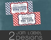 DESIGN  2 Jam Labels.  Printable file with Option to Print. Your Wedding colors by Tipsy Graphics