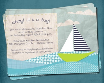 Ahoy Its a Boy. Modern Sailboat & Ocean Waves Baby Shower Invite by Tipsy Graphics
