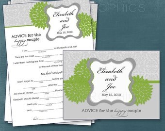 Dahlia Lace.  MAD LIB MadLib Advice & Well Wishes for the Expectant / Happy Couple  Printable Cards, any Colors. By Tipsy Graphics