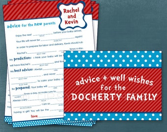 Dr. Seuss Funny MadLib Well Wishes for the NEW BABY.  By Tipsy Graphics. Printable Cards